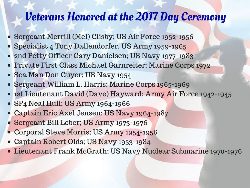 Veterans Day Recognition page 1