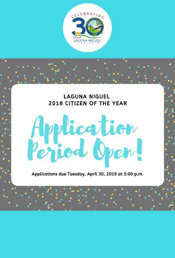 Citizen of the Year Application Period open from April 1st to April 30th at 5 p.m.