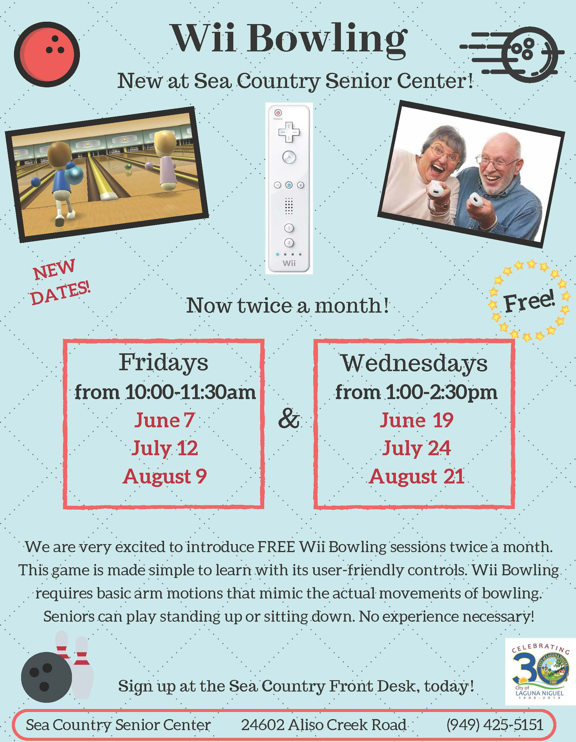 Wii Bowling Flyer Summer 2019