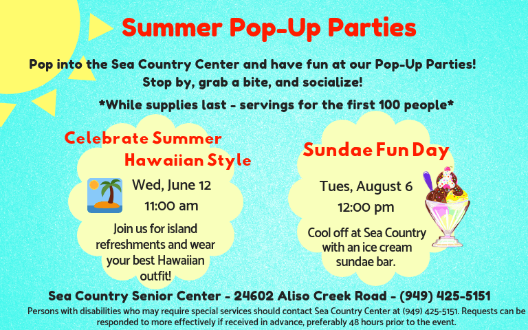 Pop Up Parties Summer 2019