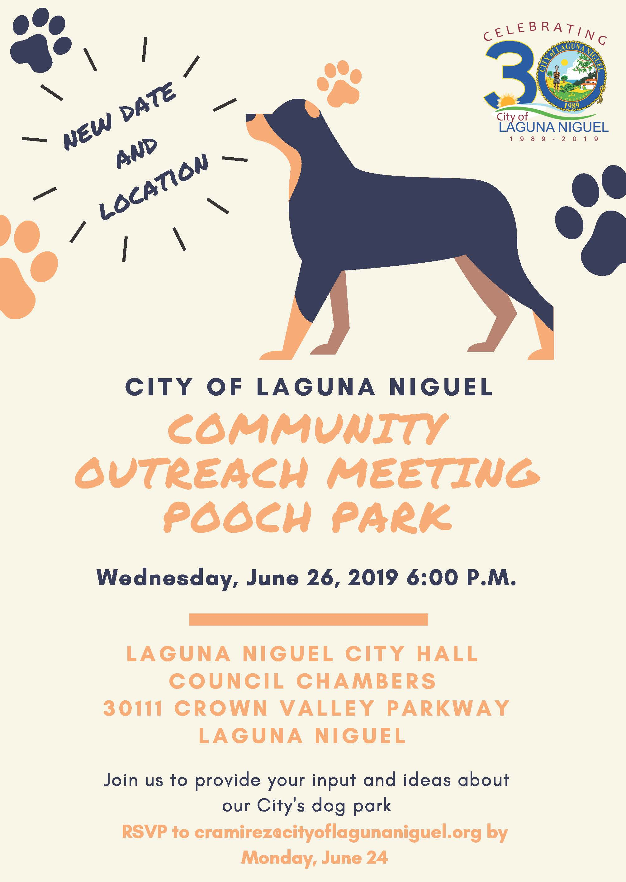 Pooch Park Community Outreach Meeting Flyer