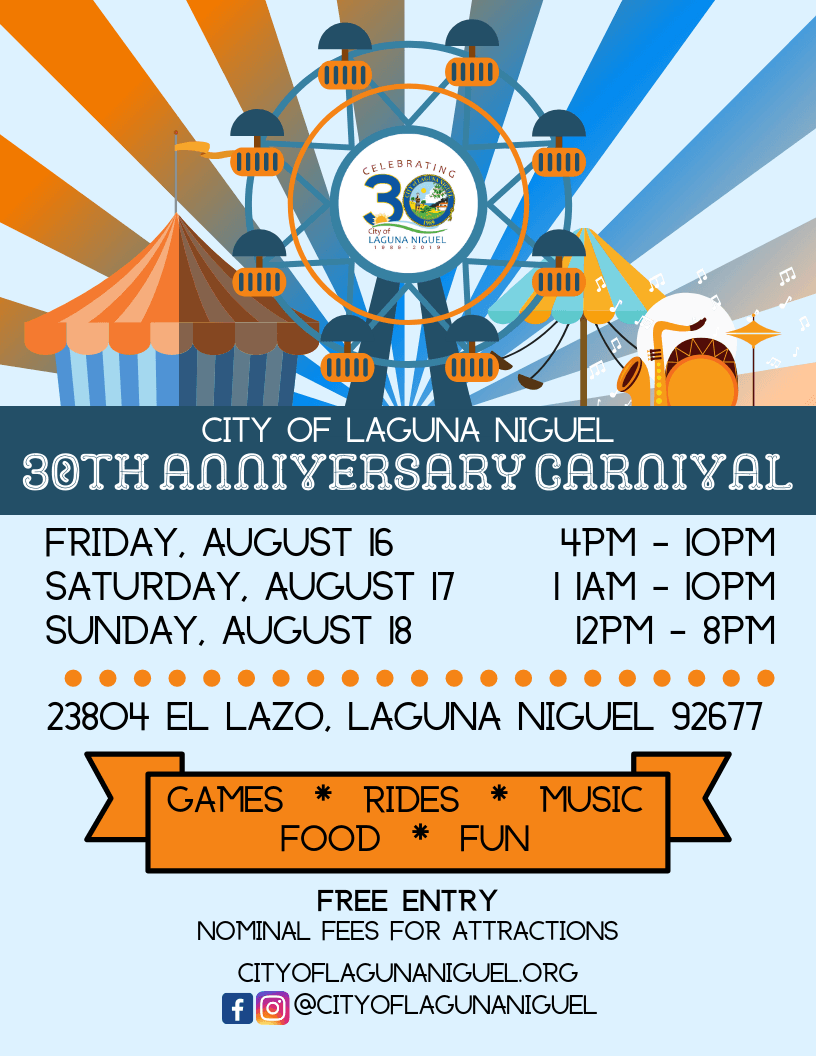 Flyer for 30th Anniversary Carnival