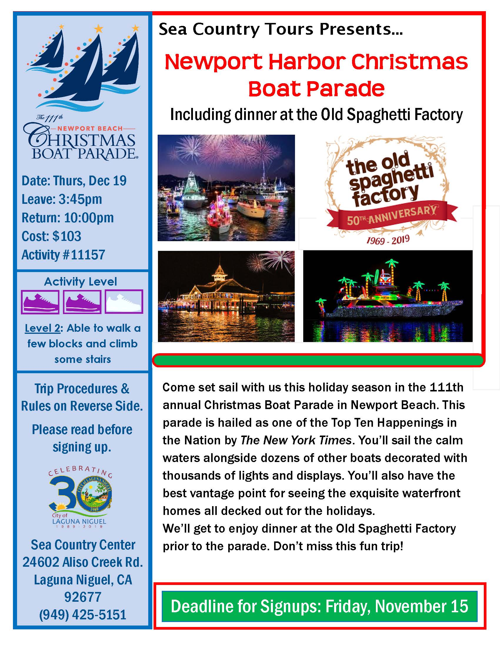 Newport Harbor Christmas Boat Parade December 2019 Flyer