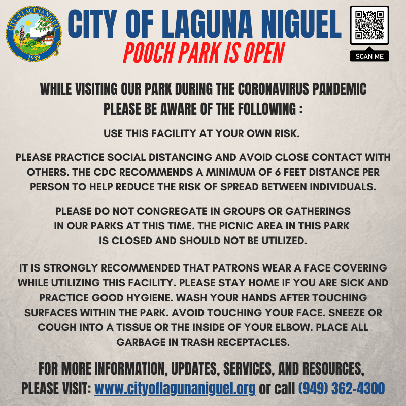 Flyer for re-opening of the Laguna Niguel Pooch Park effective Friday, May 1, 2020