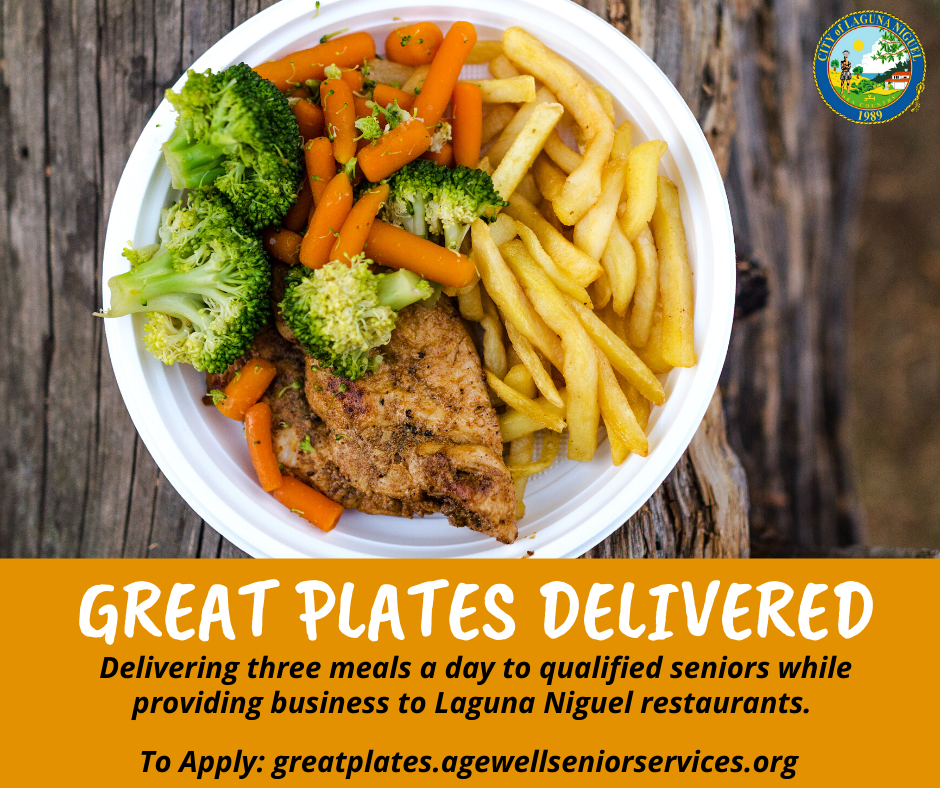 "Image of food with words saying ""Great Plates Delivered"" at the bottom portion."