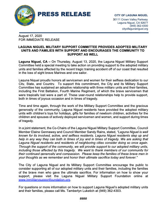 Press Release regarding Laguna Niguel Military Support Committee