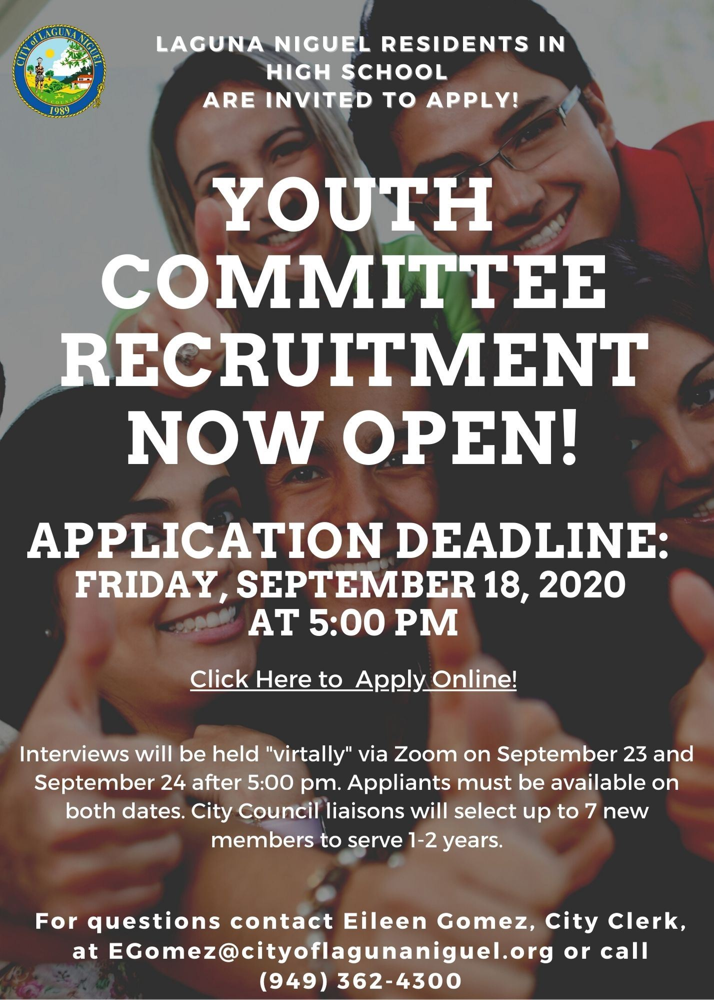 Youth Committee Recruitment 2020 Flyer