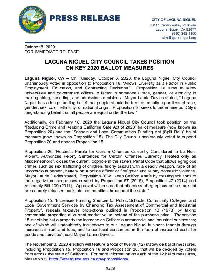 Press Release: City's Position on 2020 Ballot Measures