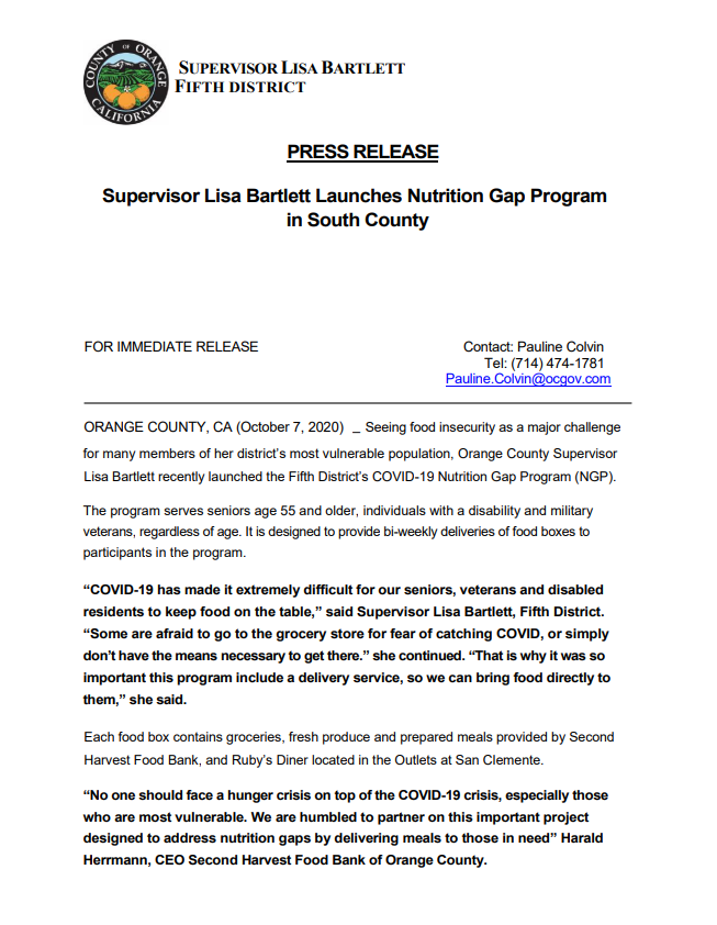 Press Release: Supervisor Lisa Bartlett Launches Nutrition Gap Program in South County