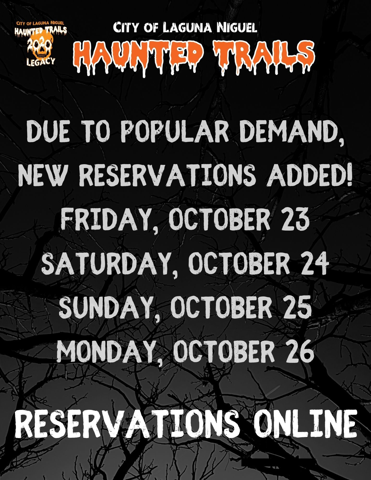 Haunted Trails 2020 New Reservations