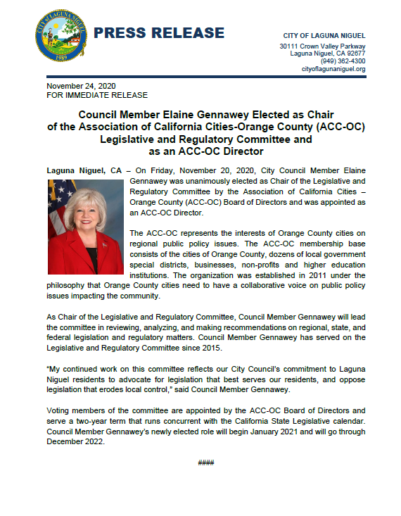 PRESS RELEASE Chair of ACC-OC Legislative and Regulatory Committee and ACC-OC Director