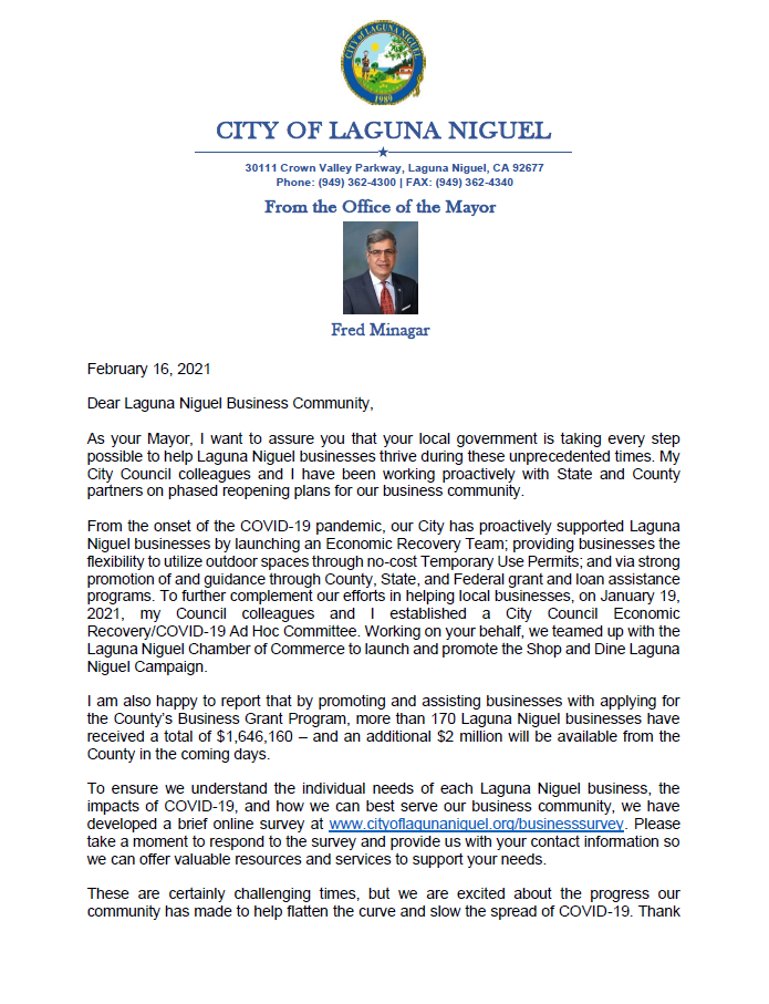 Letter to Business Community from Mayor Minagar