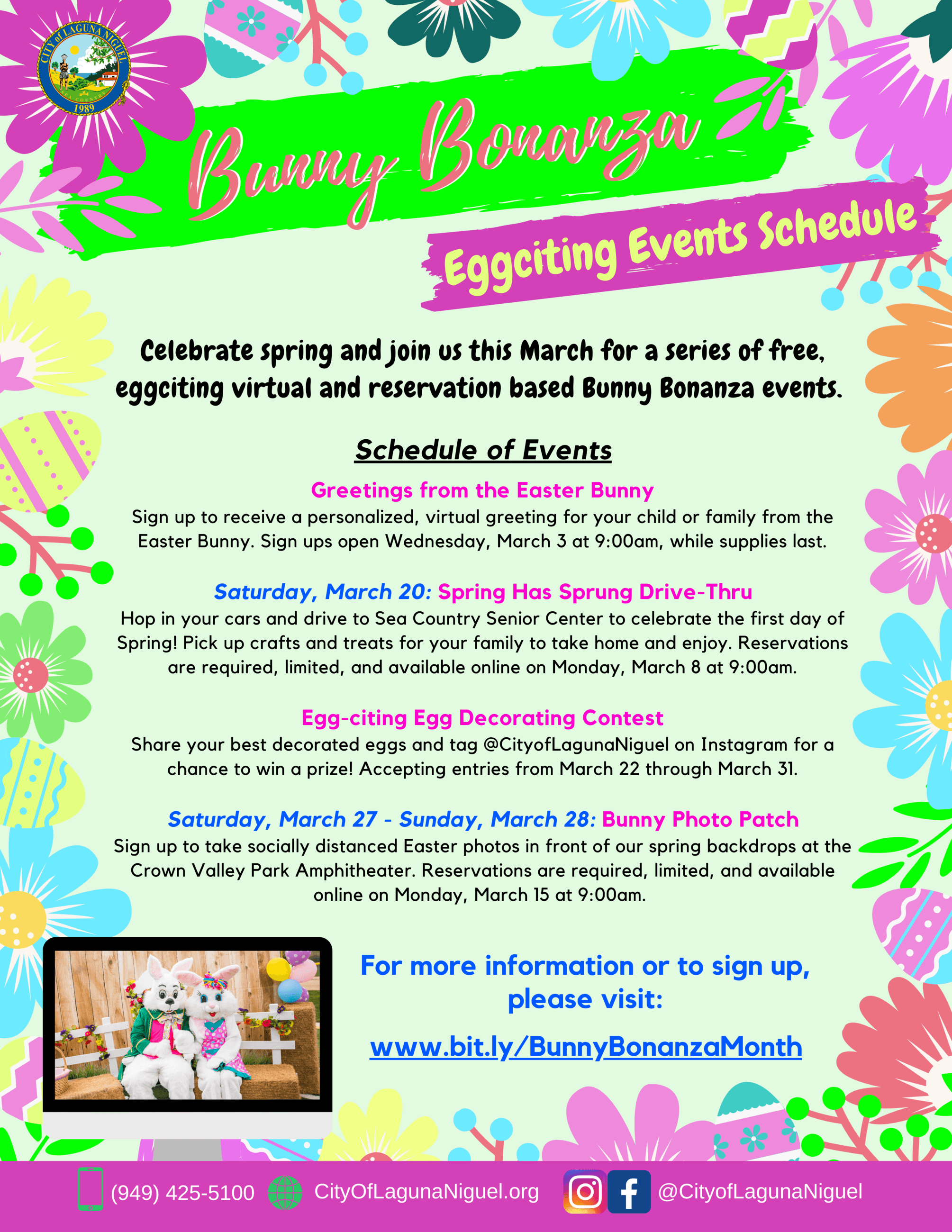 Bunny Bonanza Events At a Glance Flyer