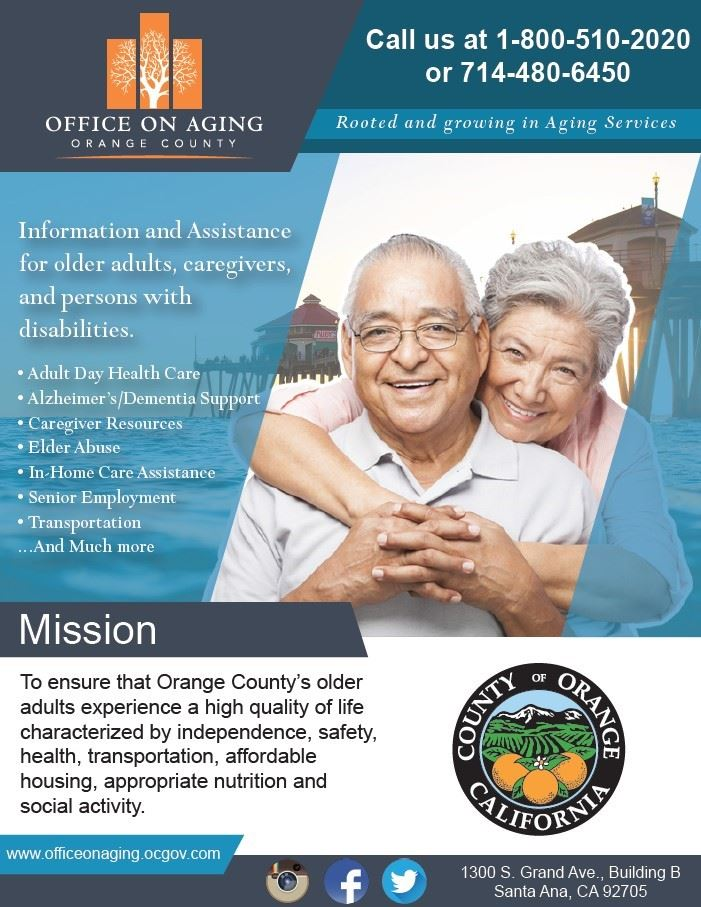 Call 1-800-510-2020 for information and assistance for older adults and caregivers
